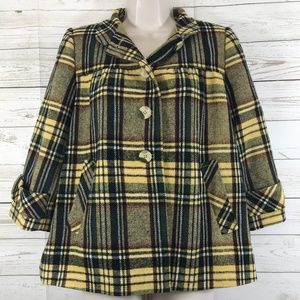 Sundance Yellow Plaid Wool Blazer Jacket Sz S